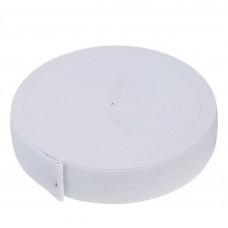 Flat Elastic 25mm - White