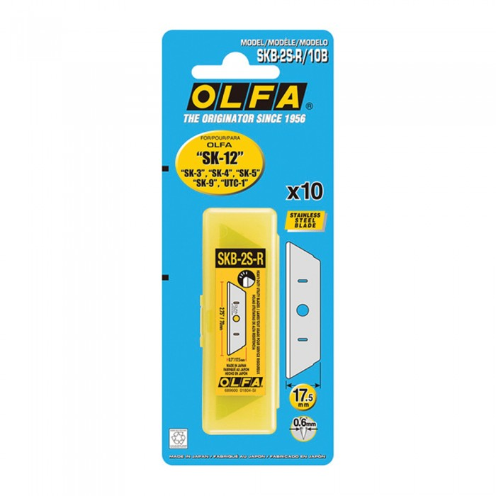 Olfa SKB-2S-R/10B Rounded-tip Stainless Steel Blades