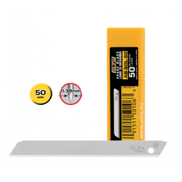 Olfa AB-SOL/50 - 9mm Solid Blade, 50 Pack