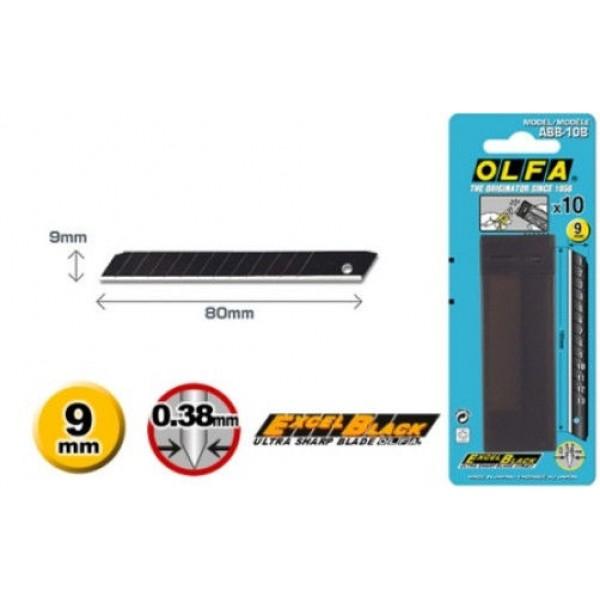 Olfa ABB-10B - 9mm Excel Black 10 Blades- Blister Packed
